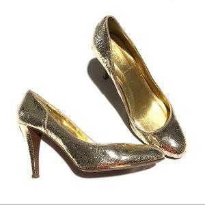 J. Crew Gold Metallic Crackle Pump Party Shoe 8.5